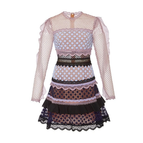 551da440b0b5 Self-Portrait Dresses | Nwt Self Portrait Bellis Lace Trim Dress ...
